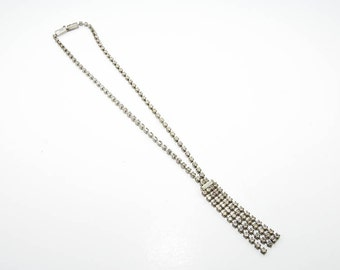 Silver shade  necklace with rhinestones 6981