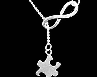 Infinity Autism Awareness Puzzle Piece Necklace, Special Needs Gift Y Lariat Necklace