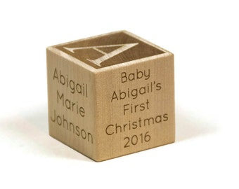 Baby First Christmas, Personalized Wooden Baby Block, First Christmas, Baby Gift, Christmas Gift
