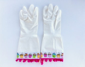 Cupcake Latex Free Dish Gloves. Size Small, Medium and Large. Kitchen Cleaning Gloves. Gifts for Women. Spring Cleaning Gift Under 30.