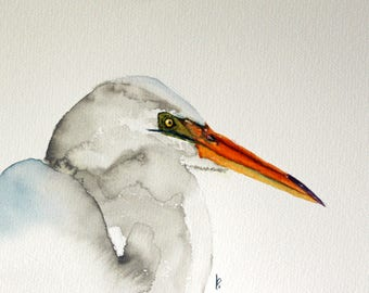 Egret original watercolor painting Egret Bird by Betty Moore