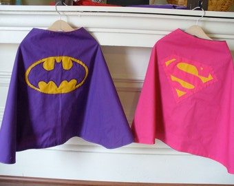 CUSTOM - Expedited Shipping - Reversible Supergirl and Batgirl Child Costume Capes