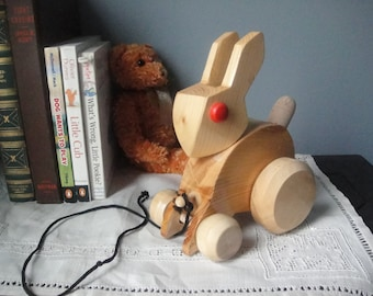 Vintage bunny pull toy