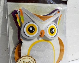 Owl large adhesive paper embellishment w moving wings perfect Halloween scrapbooking project life crafting decorating holiday card making