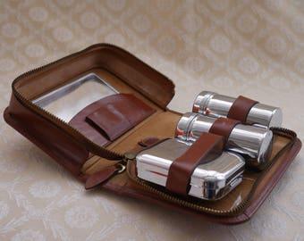 Mens Grooming Kit, Mens Travel Kit, Vintage Grooming, Gents Hide Case, Dressing Case, Leather Case, Toiletry Bag, Soap Dish, Grooming Set