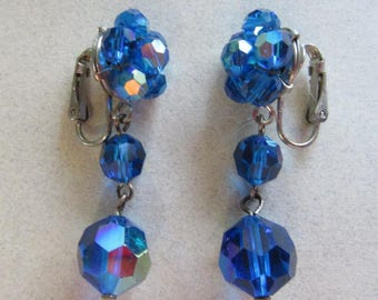 Vintage Mod Electric Blue Crystal Cluster Earrings Aurora Borealis 60's Accessories Costume Jewelry Dangle Clipon Clip Ons MoonlightMartini