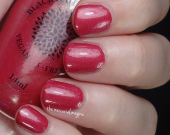 Red Crelly with Micro Glitter & Flakies Nail Polish -- Red Spike Cactus by Black Dahlia Lacquer