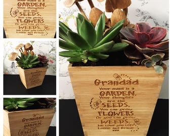 Personalised Fathers Day wooden engraved plant pot - gift for him - grandad - grandpa plant pot