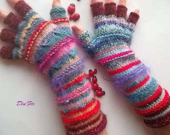 Women Size L 20% OFF Gloves Fingered Mittens Wrist Warmers Winter Hand Knitted Arm Ready To Ship Half Fingers Gift Multicolor Striped 73