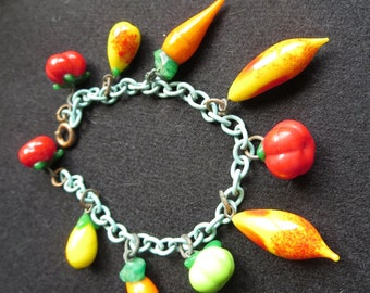 Vintage Garden Vegetable Glass Charm Bracelet