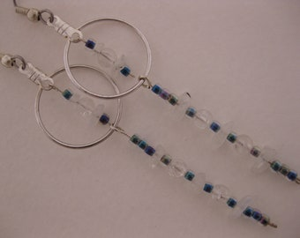 Sleek Shimmering Rainbow Moonstone Gem Chips, Mystery SeedBeads & Clear Crackle Glass Dangling Beaded Earrings w/Silver Plated Beading Hoops