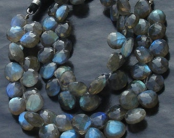 1/2 Strand, Blue Flashy Labradorite Faceted HEART Shaped Briolettes, 9-10mm Long size,Promotional Price Item