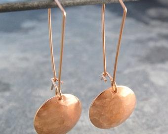 Gold Dangly Earrings - Gold Drops - Gold Drop Earrings - Rose Gold Drops - Statement Earrings - Geometric Earrings - Hammered Earrings