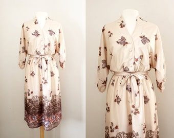Vintage '70s Boho Chic Dress - Dolman Sleeve Dress - Size Medium