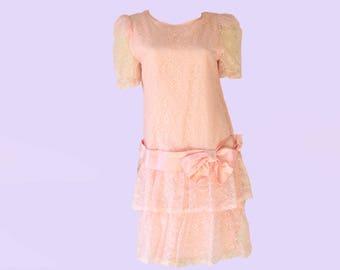 80's Pastel Pink Lace Puff Sleeve Drop Waist Dress