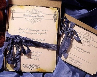Romantic lock and key wedding invitation suite