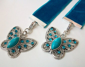 Turquoise Velvet Ribbon Bookmark w/Rhinestone and Turquoise Butterfly
