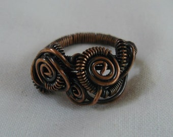 Copper- Ring - Wire Wrapped- size 8
