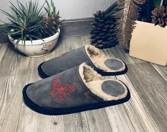 Butterfly slippers, grey slippers, gray slippers, leather slippers, wool slippers, warm slippers, closed toe slippers, slippers for women