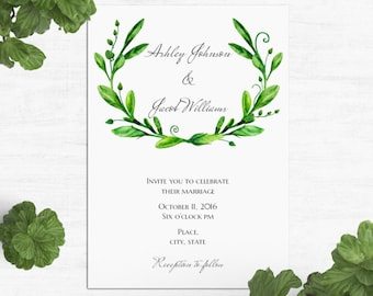 Greenery wedding invitation printable Summer wedding invitation card Green wedding Floral invitation Garden wedding Invites botanical 1W72