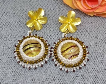 handmade Bead Embroidery earrings-Murano glass- Made in Italy- One of a kind
