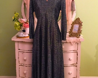 Long Black and Silver Vintage Dress w Rhinestone Collar Size L Long Sleeve Evening Gown