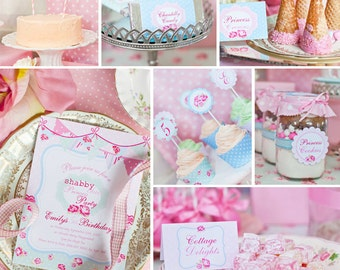 Shabby Chic Princess Party Theme - Instantly Downloadable and Editable File - Personalize and Print at home with Adobe Reader
