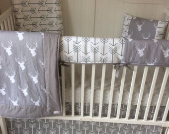 Crib Bedding Neutral in White and Gray Stag and Arrows Bumperless