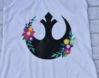 Star wars inspired shirt, floral rebel alliance inspired shirt, floral, flower, flower and garden festival inspired, rebel inspired shirt