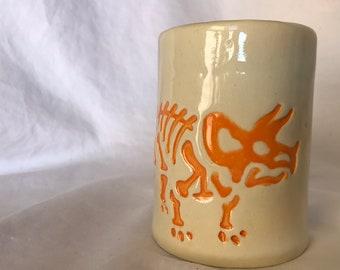 Handmade Earthenware Ceramic Triceratops Dino Mug