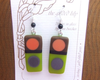 Olive Tic Tac Mate Glass Earrings, Fused Glass Jewelry Handmade In North Carolina