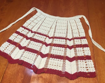 Vintage Hand crochet Red and Ivory apron by MarlenesAttic