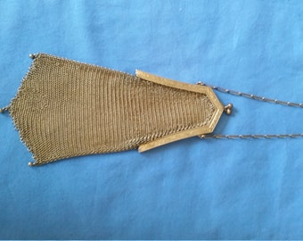 Antique Whiting and Davis Gold Plated Soldered Mesh Flapper Purse