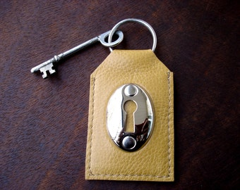 Golden Tan Leather Keychain with Keyhole and Vintage Skeleton Key - Mustard Leather Key Fob