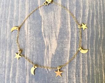 Crescent Moon and Stars Bracelet or Anklet   Delicate Gold Filled Bracelet or Anklet with Gold Filled Crescent Moons and Stars