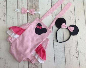 Girls Cake Smash Minnie Mouse Set- Tutu - Romper - age 12-18 months