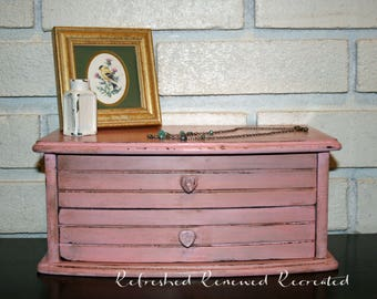 Pretty In Pink - Jewelry Box - Rustic, pink jewelry box with two drawers, one divided in three sections
