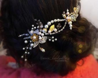 Bridal hair vine, Crystal bridal crown, Bridal headpiece, Bridal headband, Bridal wreath, Rhinestone Gold, Tiara,Ornament, Wedding hair vine