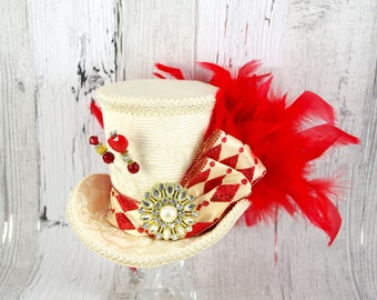 Queen of Hearts - Cream and Red Harlequin  Large Mini Top Hat Fascinator, Alice in Wonderland, Mad Hatter Tea Party, Derby Hat
