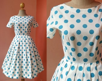 50s Dress Vintage 1950s Dress Women Pin Up Dress Polka Dot Dress Blue White Dress Cotton Dress Pleated Dress Mini Dress Short Sleeve XS