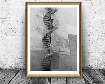 Stairs Print, Turn Staircase Poster, Building Stairs Print, Building Prints, Black and White Photo, Printable Art, Urban Print