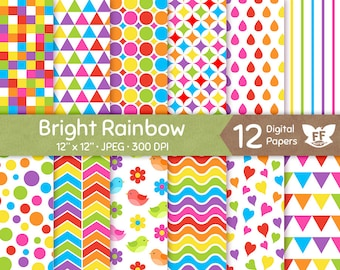 Rainbow Digital Paper, Bright Bold Color Papers, Seamless Pattern, Colorful Tileable Background, Digital Craft, Commercial Use