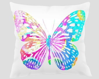Watercolor Butterfly #1 Throw Pillow, Watercolor Butterfly Pillow, Pillow Cover, Accent Pillow, Nursery Decor