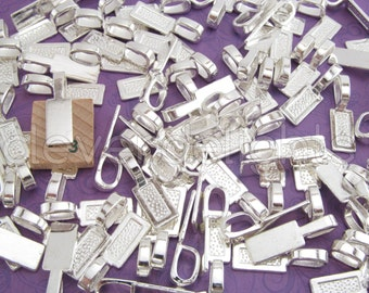 100 Tag Bails - 26x8mm - Shiny Silver Color - Glue On Paddle Bails - For Scrabble and Glass Pendants - 1 x 5/16 inch 26mm x 8mm