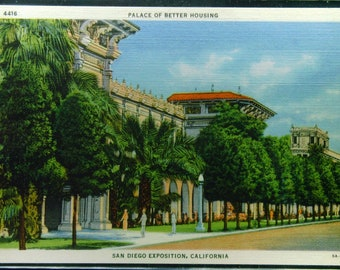 Vintage Linen Palace of Better Housing San Diego Exposition Unused 1935