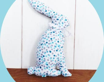 Bunny 23 cm in cotton fabric with turquoise and gray polka dots and stars
