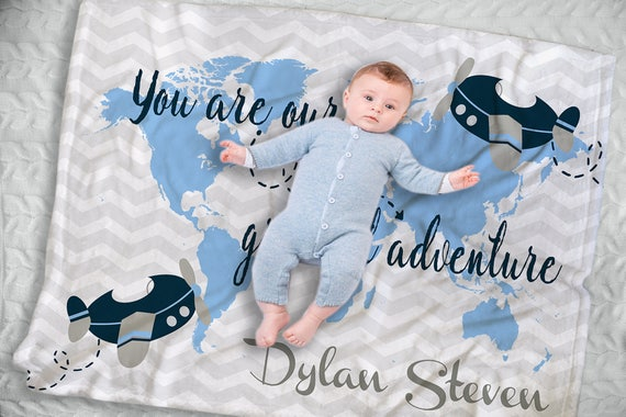 Personalized baby name blanket world map blanket custom like this item gumiabroncs Images