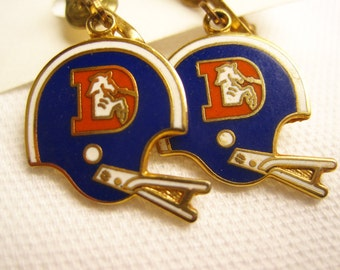 Vintage Denver Broncos Football Helmet Enameled Clip-On Earrings