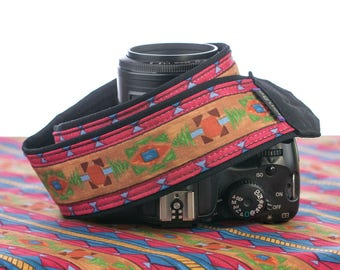 dSLR Camera Strap, Southwestern Colors, Tribal, Camera Neck Strap, Nikon Camera Strap, Canon Strap, SLR, Native American Inspired, 223