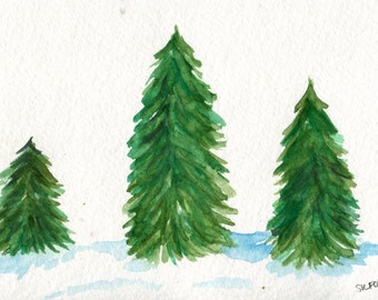 Fir Christmas Trees Original Watercolor Painting 4 x 6, Fir tree forest in snow, Holiday decoration